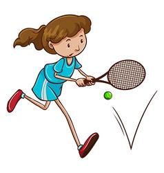 A girl playing tennis vector