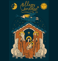 Adoration of the magi christmas nativity scene vector