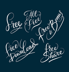 all free and bonus hand written typography vector image