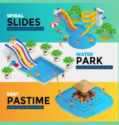 aquapark horizontal web banners with different vector image