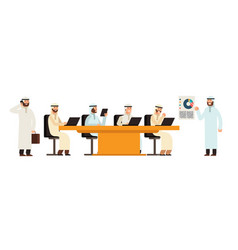arab businessman group at table in business vector image