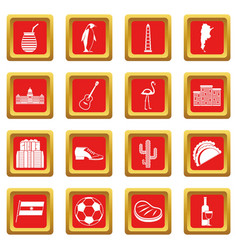 Argentina travel items icons set red vector