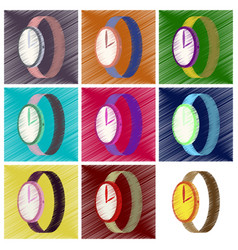 assembly flat shading style icons wrist watch vector image