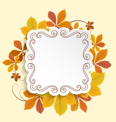 Autumn label square frame with yellow leaves vector