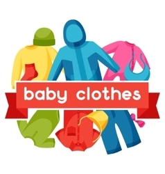 Baby clothes background with clothing items vector