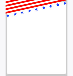 Background frame with usa flag on top vector