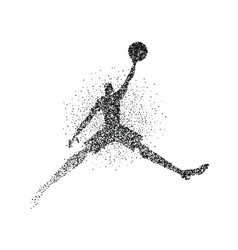 basketball player silhouette jump particle splash vector image