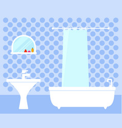 Bathroom interior on flat design vector
