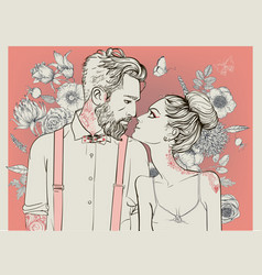 beautiful couple with floral elements vector image