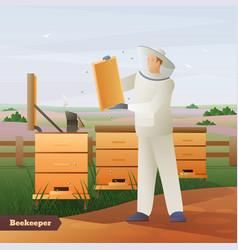 Beekeeper flat composition vector