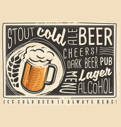 beer poster menu with creative lettering and beer vector image