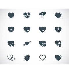 black hearts icons set vector image