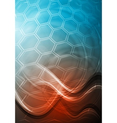 Blue and red technology background with waves vector