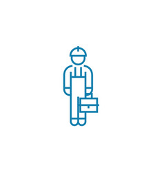 blue collar linear icon concept blue collar line vector image