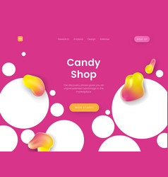 bright landing page template with pink background vector image
