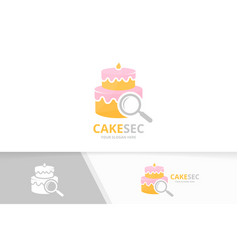 Cake and loupe logo combination pie and vector
