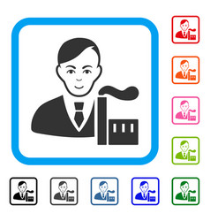 Capitalist oligarch framed positive icon vector