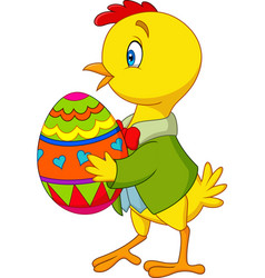 Cartoon chick holding a decorated easter egg vector