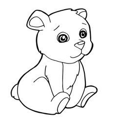 cartoon cute bear coloring page vector image