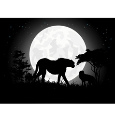 Cheetah silhouettes with giant moon background vector image