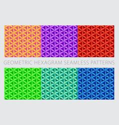 Colorful set geometric hexagram seamless patterns vector