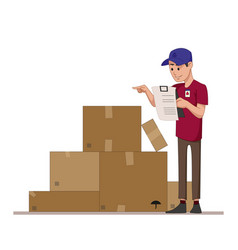 courier checks parcels list boxes for sending vector image