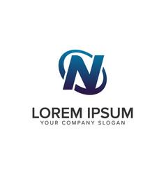 creative modern letter n logo design concept vector image