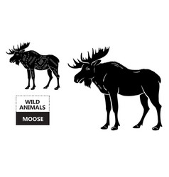 Cut of elk set poster butcher diagram - desert vector