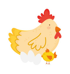 cute hen chicken and eggs farm animal cartoon vector image