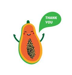 cute papaya character saying thank you vector image