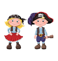 Cute set of children pirates vector