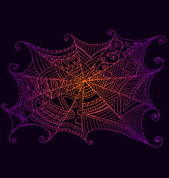 decorative beautiful spider web vintage style vector image