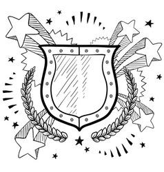 doodle pop wreath shield vector image
