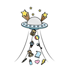 Doodle ufo talking away baby toys vector