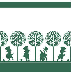 Endless border with leprechauns in summer garden vector