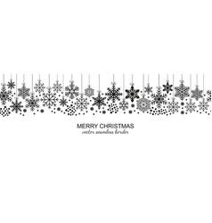 Festive seamless snowflake border white background vector