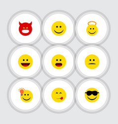 Flat icon face set of have an good opinion vector