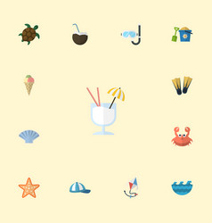 flat icons sea star tortoise sorbet and other vector image
