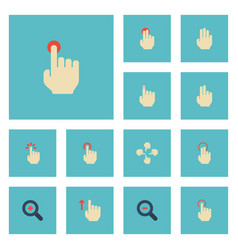 Flat icons touch hold finger and other vector