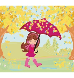 girl walking in the rain vector image