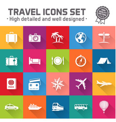 hi quality travel icon set vector image