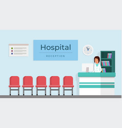 Hospital reception with woman vector