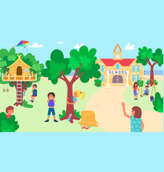 Kids play at school yard happy childhood useful vector