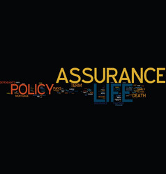 Life assurance text background word cloud concept vector