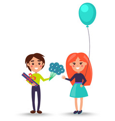 Little boy greet girl with flowers and present vector