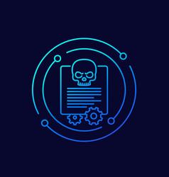 Malware and cyber attack line icon vector