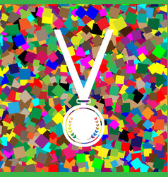 medal simple sign white icon on colorful vector image