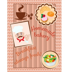 Menu on the wood and knitting background vector image vector image