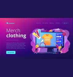 Merch clothing concept landing page vector