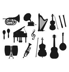 Music tools trumpet cello guitar piano icons vector